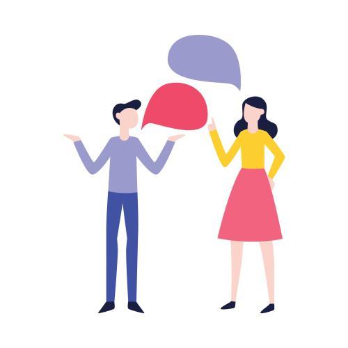 cartoon of two people talking
